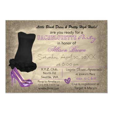 Purple Gold Little Black Dress bachelorette invite