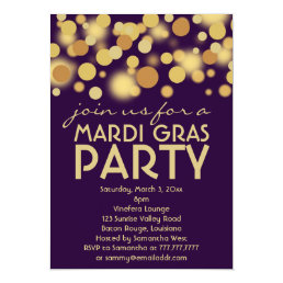 Purple Gold Mardi Gras Party Invitations