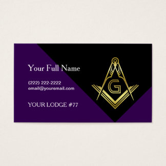 Purple & Gold Masonic Business Cards, Freemasonry Business Card