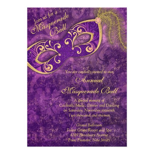 Purple Gold Masquerade Ball Mardi Gras Party Personalized Invites