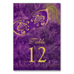 Purple Gold Masquerade Ball Mardi Gras Wedding Table Card