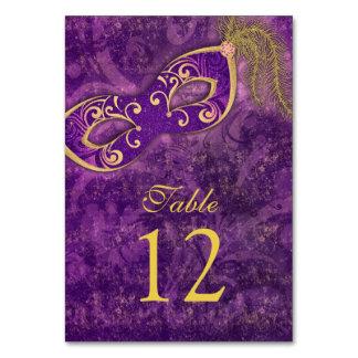 Purple Gold Masquerade Ball Mardi Gras Wedding Table Number