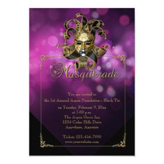 Purple Gold Masquerade Mardi Gras Ball Invitation