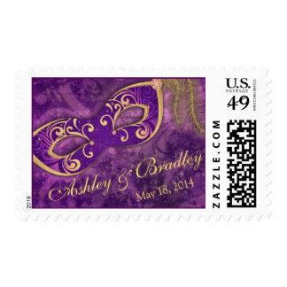 Purple Gold Masquerade Mardi Gras Wedding Postage Stamp
