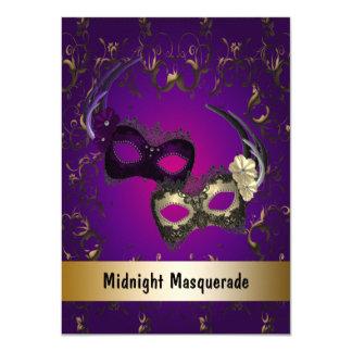Purple Gold Masquerade Prom Card