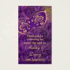 Purple Gold Masquerade Wedding Favour Tags at Zazzle