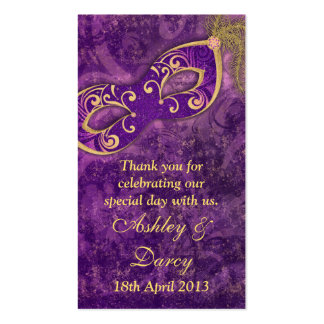 Purple Gold Masquerade Wedding Favour Tags Double-Sided Standard Business Cards (Pack Of 100)