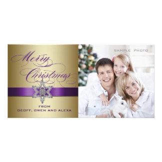 Purple Gold Merry Christmas Greeting Photo Card