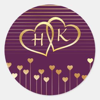 Purple & Gold Monogram Heart Classic Round Sticker