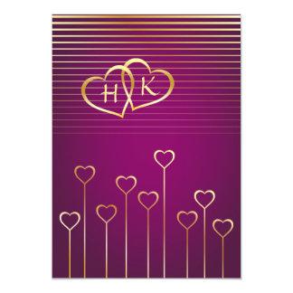 "Purple & Gold Monogram Heart Wedding Invitation 5"" X 7"" Invitation Card"