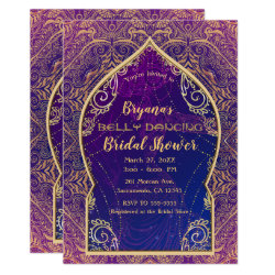 Purple Gold Moroccan Belly Dancing Bridal Shower Invitation