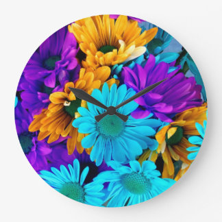Purple Gold N Turquoise Daisies Large Clock