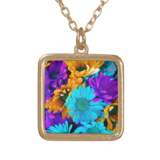 Purple Gold N Turquoise Daisies Necklace