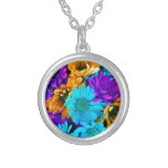purple, gold, yellow, turquoise, blue, daisies,