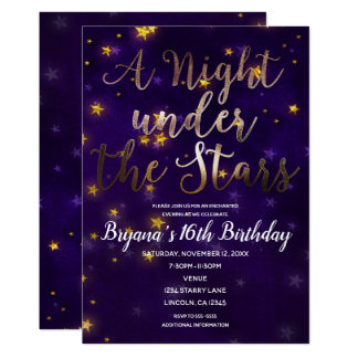 Purple & Gold Night Under The Stars Celestial Card