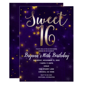 Purple & Gold Night Under The Stars Sweet 16 Party Card