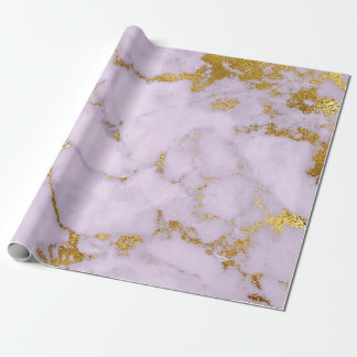 Purple Gold Pastel Gray Marble Shiny Glam Wrapping Paper