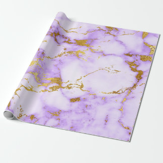 Purple Gold Pastel White Marble Shiny Glam Wrapping Paper