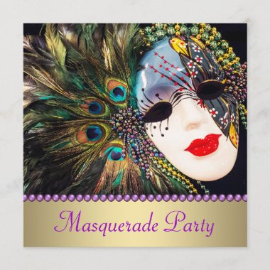 Purple Gold Peacock Feather Mask Masquerade Party Invitation
