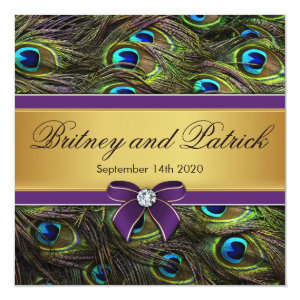 Purple & Gold Peacock Feather Wedding Invitations 5.25