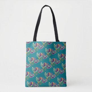 Purple Gold Peacock Pattern Tote Bag