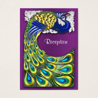 Purple & Gold Peacock Wedding Reception Cards