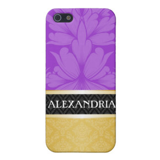 Purple & Gold Personalized Damask iPhone 4 Case