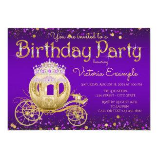Purple Gold Princess Birthday Party Card