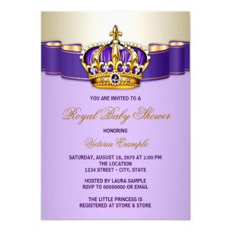 Purple Gold Princess Crown Baby Shower Card