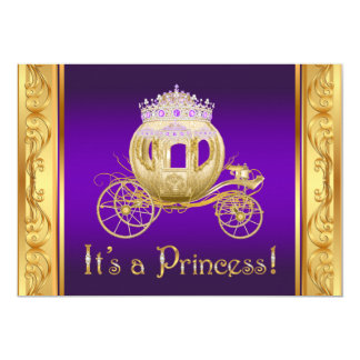 Purple Gold Princess Girl Baby Shower Invitations