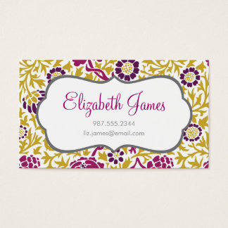 Purple & Gold Retro Floral Damask Business Card