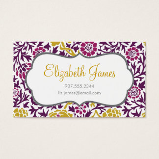 Purple & Gold Retro Floral Damask Business Card