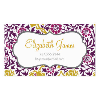 Purple & Gold Retro Floral Damask Double-Sided Standard Business Cards (Pack Of 100)