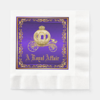 Purple Gold Royal Carriage Royal Party Event Napkin