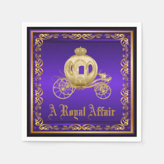 Purple Gold Royal Carriage Royal Party Event Paper Napkin