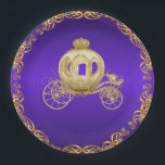 "Purple Gold Royal Coach Carriage Paper Plate<br><div class=""desc"">Purple and gold princess royal carriage paper plates with beautiful gold carriage on a rich purple and gold background. You can personalize these pretty purple and gold paper plates for your event by adding text in the font style and color of your choice. You can move and resize the carriage...</div>"