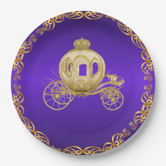 Purple Gold Royal Coach Carriage Paper Plate