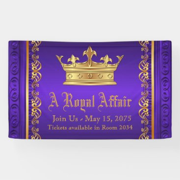 Toddler & Baby themed Purple Gold Royal Crown Banner