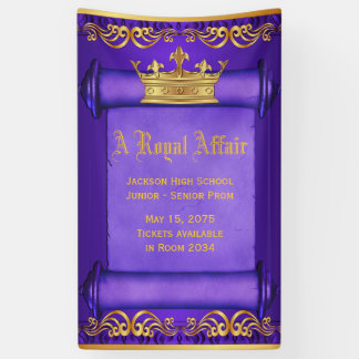 Purple Gold Royal Crown Banner
