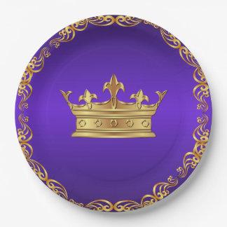 Purple Gold Royal Crown Paper Plate