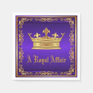 Purple Gold Royal Crown Royal Party Event Napkin