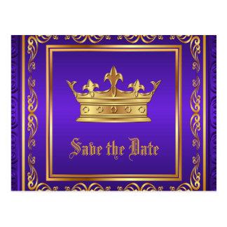 Purple Gold Royal Crown Save the Date Postcard