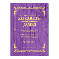 Purple & Gold Rustic Barn Wood Wedding Invitations Cards