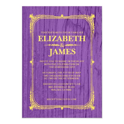 "Purple & Gold Rustic Barn Wood Wedding Invitations 5"" X 7"" Invitation Card"