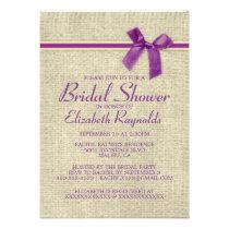Purple Gold Rustic Burlap Bridal Shower Invitation Invites
