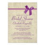 "Purple Gold Rustic Burlap Bridal Shower Invitation 5"" X 7"" Invitation Card"