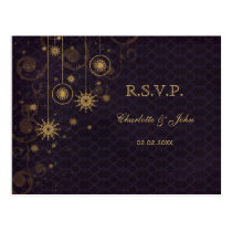 purple gold rustic Snowflakes Winter wedding RSVP Postcard