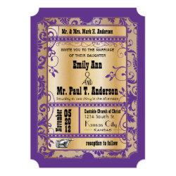 Purple Gold Rustic Vintage Ticket Wedding 5x7 Paper Invitation Card
