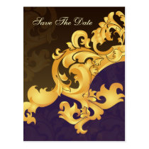 purple gold save the date announcement postcard