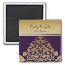 purple gold Save the date magnet